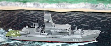 A 1/1250 scale painted & finished metal model of a Kamchatka-class Russian patrol ship.