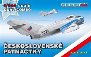 First release of MiG-15 scale kit in SUPER44 edition. Box contains two complete scale kits. plastic parts: Eduard No. of decal options: 7 Decals: Eduard, PE parts: no painting mask: yes Marking options: MiG-15bis, s/n 613234, flown by Capt. Oldrich Paldus, 15th Fighter Regiment, Cottbus AB, German Democratic Republic, August 30 to September 1, 1957 MiG-15, flown by Lt. Jaroslav Sramek, 2nd Squadron, 5th Fighter Regiment, Plzen-Line AB, Late March, 1953 MiG-15, 1st Fighter Division, Ruzyne airtport, September, 1955 MiG-15bis, 11th Fighter Regiment, ca 1957 - 1958 MiG-15bis, 9th Fighter Regiment, Bechyne Air Base, 1958 - 1959 MiG-15bisSB, 30th Fighter-Bomber Regiment, Hradec Kralove / Ceske Budejovice Air Bases, the 1970´s MiG-15bis, flown by Capt. Frantisek Garaja, 6th Fighter-Bomber Regiment, Sliac airbase, August, 29, 1964