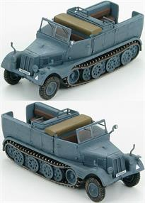 "Hobby Master Sd. Kfz.11 German 3-Ton Half-Track Unit Unkown, Poland ""WH-133669""<p>Borgward was tasked to design a 3 ton towing vehicle. The prototype was ready in 1933 but it only had a 72 HP engine and four road-wheels per side. The second prototype wasn't any better so in 1938 the project was given to Hanomag. The company added two more road- wheels per side, changed the transmission and gave it a 100 HP engine. The demand was so great that 5 more companies were added to the production of the Sd.Kfz.11. Between 1937 and 1945 25,000 vehicles were produced in 5 variants.</p>"