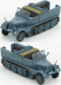"Hobby Master Sd. Kfz.11 German 3-Ton Half-Track Unit Unkown, Poland ""WH-133669""Borgward was tasked to design a 3 ton towing vehicle. The prototype was ready in 1933 but it only had a 72 HP engine and four road-wheels per side. The second prototype wasn't any better so in 1938 the project was given to Hanomag. The company added two more road- wheels per side, changed the transmission and gave it a 100 HP engine. The demand was so great that 5 more companies were added to the production of the Sd.Kfz.11. Between 1937 and 1945 25,000 vehicles were produced in 5 variants."