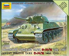 Zvezda 1/100 Soviet Tank T-34 6101Paints are required