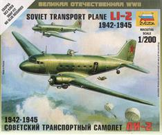 Zvezda Z6140 1/200 Scale Li-2 Soviet Transport PlaneNumber of Parts 16   Length 97mm