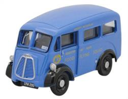 Oxford Diecast Ministry Of Food Morris J Ice Cream Van1/76 ScaleThis Morris J Van sees it with windows in the Ministry of Food livery. Registered LYM 295, the bodywork on this model is a lovely shade of blue with yellow lettering and black chassis. Additional masking is in black and silver and a fine detail not to be missed is the tiny sticker on the passenger side of the windscreen with the initials IFV, which was a wartime abbreviation for Infantry Fighting Vehicle, although its use here is one for conjecture.