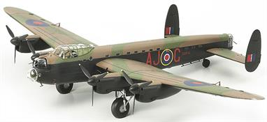 The Tamiya 1:48 scale Avro Lancaster Special kit can be built as a Mk.1 special carrying the 'Dambuster' Upkeep bouncing bomb or the Mk.3 special carrying the super-heavy Grand Slam earthquake bomb as it's weapon load.