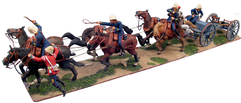 "W Britain British Royal Artillery Gun Team No.1<p>""Desperate Escape"" 7 Pound Field Gun, Limber, Horses Gun Crew and perusing Zulu Warrior</p><p>14 Piece Set</p><p>Limited Edition of 600 Sets</p><p>1/30 Scale</p><p>Matt Finish </p>"