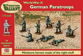 German paratroops (or Fallschirmjäger) took part in many of the famous battles of World War II. They saw action in the in Norway and Denmark campaign and the blitzkrieg attacks on Belgium, Holland and France in 1940. Major actions in the Balkans Campaign, Crete, Italy, and on both the Eastern Front and later the Western Front would follow.
