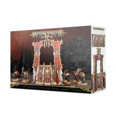 This set builds one Skull Altar. Once complete, you'll have enough room on top to mount a Khorne Hero of your choice. Covered in baroque and grisly detail, it's a great centrepiece to your Khorne collection and incredibly useful in game.  This set is supplied in 21 plastic components.