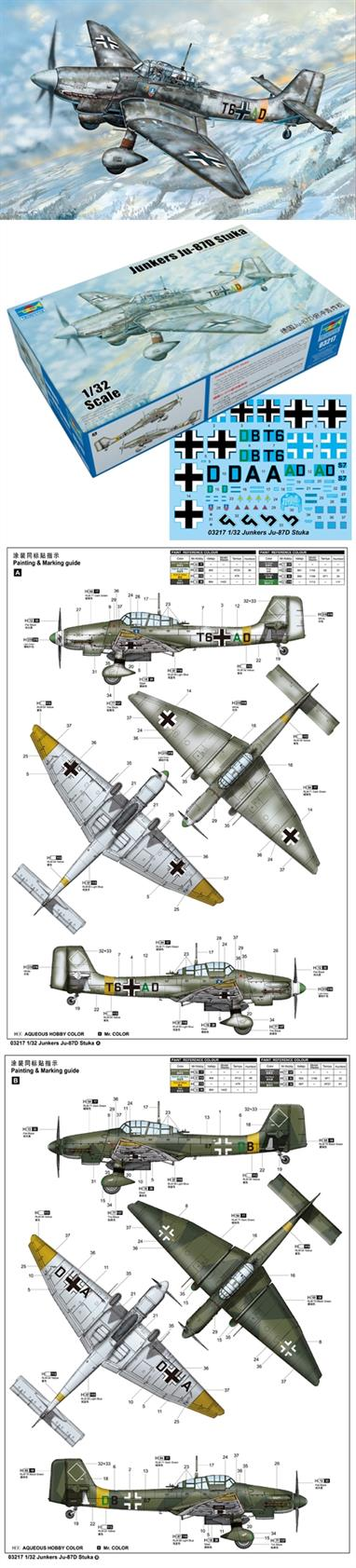 The Ju 87 Stuka dive bomber might be one of the most famous bomber during the WWII. It has been the main force in the ground support of the Air Force since the start of the Blitzkrieg.The Ju 87D is the most important series of the Stuka family,and the type Ju 87D-5 is the last divebomber version of the Stuka family, an extra armor were fitted under the fuselage, the guns in the wing were replaced by two MG 151 20mm anti tank gun. The Ju 87D-5 made it's first battle in July 1943 in the Battle of Kursk.