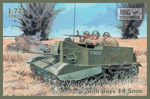 IBG Models 72026 1/72 Scale British Universal Carriers Mk1 with Boys 14.5mm Anti Tank RifleThe kit is supplied with illustrated assembly instructions.Glue and paints are required to assemble and complete the model (not included)