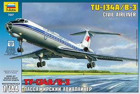 Zvezda 7007 1/144th Tupolev TU-134B Airliner KitNumber of Parts 58  Length 285mm