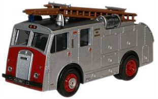 Brand new tooling introduces another classic fire appliance to our Emergency Services line-up. The Dennis F8 belongs to the 1950s era at a time when the famous coachbuilder's vehicles dominated the fire emergency scene. Dennis has a history going back as far as the 1890s when the brothers started manufacturing bicycles. Today, it remains one of only a handful of manufacturers specialising in fire-fighting machinery. Our model, registered 42 CMX, would have made a striking sight speeding through London, with its silver bodywork and red front, which also incorporates the Dennis name in silver/black on the radiator grille. Powered by a Rolls-Royce B60 six-cylinder engine, the rear mounted Dennis No. 2 pump could deliver 500 gallons of water per minute. The London Fire Brigade four-colour crest features on the side along with the Brigade lettering in gold. A useful addition is a spare set of extention ladders perched on the roof, capable of a 35 ft stretch, which would have been essential to reach the tall buildings in our capital city.