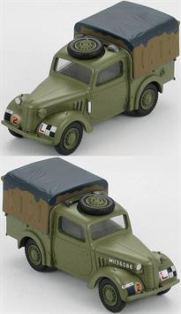 "Hobby Master British Light Utility Car Tilly ""M1136086"" No.1 TCMT, Camberley, UK1945<p>1/48 Scale</p><p>Early in WWII the need for a small utility vehicle became apparent. To expedite the manufacturing process some civilian car designs were modified. These small utility vehicles were usually referred to as ""tilly"", a play on the word utility. There were 4 major producers of these vehicles, Austin, Hillman, Standard and Morris. Manufacturers kept some of their distinctive physical features such as hoods (bonnets) and grilles. The ""tilly"" was well suited for the multitude of tasks it was assigned and became an iconic WWII British vehicle.</p>"