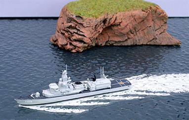 A 1/1250 scale metal, assembled & painted model of Van Spiek of the Royal Netherlands Navy.