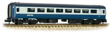 New and detailed models of the BR air conditioned express passenger stock built from the early 1970s. BR was one of the first European railways to offer air conditioned accomodation as standard on principal services.These models are of the Mk.2F coaches, the last of the Mk.2 series build (1973-1975) and almost identical to preceeding Mk.2E coaches (1972-73 build), the design changes relating primarily to the air conditioning plant. These two builds formed the backbone of the InterCity locomotive-hauled coach fleet during the 1970s and 80s.This model of the second class tourist open plan seating (2+2 with tables) coach is painted in the BR corporate blue and grey livery.Era 7-8 1971-1994.