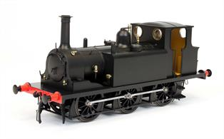 A plain black finish A1 Terrier modelled in original condition with smokebox wing plates.This model is an ideal starting point for modelling an unrebuilt locomotive in Southern or British Railways livery with your own choice of number, or to model a locomotive sold for industrial service or to one of the light railway companies, perhaps for your own fictional railway company.
