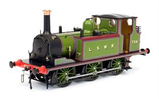 A number of the Brighton Terrier locomotives were sold to other railway companies. This model is finished in London and South Western Railway livery as LSWR 734 in their light green livery.The LSWR purchased two Terriers in 1903 for the Lyme Regis branch which had been built economically, with the lowest practical maximum axle load and some sharp curves to follow natural land contours. The engines also served on other minor branch lines including the Bishops Waltham and Lea-on-Solent lines.