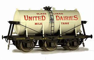 A detailed model of the 6-wheel express milk tank wagons built from the 1930s for the conveyance of bulk milk from country dairies to the bottling and distribution centres in major cities.Model finished as United Dairies wagon 44018Expected Late Spring 2021