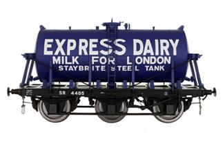 A detailed model of the 6-wheel express milk tank wagons built from the 1930s for the conveyance of bulk milk from country dairies to the bottling and distribution centres in major cities.Model finished as Express Dairies wagon 4405Expected Late Spring 2021