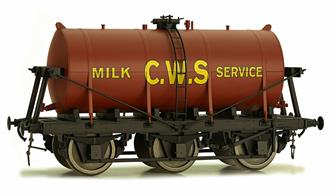 Dapol O CWS 6 Wheel Milk Tank Red Tank 7F-031-002Dapol O gauge 7F-031-002 6 wheel milk tank wagon with red tank lettered CWS for the Co-operative Wholesale Society. Expected to feature the pre-war bill-board lettering style.A detailed model of the 6-wheel express milk tank wagons built from the 1930s for the conveyance of bulk milk from country dairies to the bottling and distribution centres in major cities.This model featuresExtremely detailed and accurate tank and chassisMany separately fitted details including ladders and strapping.Spring metal buffers and coupling hook with screw coupling.Partially compensated chassis