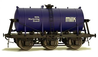 Dapol O MMB Milk Marketing Board 6 Wheel Milk Tank Blue Tank 7F-031-003Dapol O gauge 7F-031-003 6 wheel milk tank wagon with blue tank lettered for the Milk Marketing Board. One of the milk tank wagons refurbished for service into the 1970s.A detailed model of the 6-wheel express milk tank wagons built from the 1930s for the conveyance of bulk milk from country dairies to the bottling and distribution centres in major cities.This model featuresExtremely detailed and accurate tank and chassisMany separately fitted details including ladders and strapping.Spring metal buffers and coupling hook with screw coupling.Partially compensated chassis