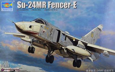 Really excellent painting and marking guides are a feature of this kit from Trumpeter of the Russian SU-24MR Fencer E swing wing bomber or tactical reconnaissance aircraft. The kit is best for a more experienced modeller and has 190+ pieces and a finished length of 313 mm long with a wingspan of 245 mm - its a big aircraft similar to the US F111.