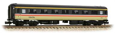New and detailed models of the BR air conditioned express passenger stock built from the early 1970s. BR was one of the first European railways to offer air conditioned accomodation as standard on principal services.These models are of the Mk.2F coaches, the last of the Mk.2 series build (1973-1975) and almost identical to preceeding Mk.2E coaches (1972-73 build), the design changes relating primarily to the air conditioning plant. These two builds formed the backbone of the InterCity locomotive-hauled coach fleet during the 1970s and 80s.This model of the first class coach with open plan seating is painted in the InterCity red stripe livery.Era 8 1982-1994.