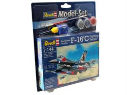 Revell 1/100 F-16C USAF Model Set 63992Length 105mm	Number of Parts  70	Wingspan 66mmComes with glue and paints to assemble and complete the model.