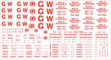 Modelmaster Decals MMGW303 00 Gauge GWR Red Wagon Lettering for Refrigerated VansModelmaster Decals - G.W.R. 1923-1948 Sheet of RED lettering for white Insulated and Refrigerated VansG.W.R. 1923-1948 Sheet of RED lettering for white Insulated and Refrigerated Vans.