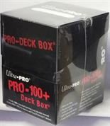 Black deck box for holding over 100 standard sized gaming cards in deck protectors.