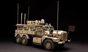 Meng SS-005 1/35 Scale US Cougar 6 x 6 MRAP VehicleDimensions - Length 226mm Width 79mm.The model can be built as Cougar 6×6 or Cougar 6×6 HEV MRAP. Interiors of the cab and troop compartment are perfectly reproduced. All doors can be built open or closed. The roof gun mount is rotatable. Precision photo etched parts are included for detailing. Two painting schemes are provided. Full instructions are included.