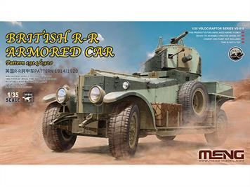 This 1/35 British R-R Armored Car Pattern 1914/1920 model features accurately replicated vehicle structure and exteriors and rich details. It can be built as a WWI option or WWII option. The roof machine gun mount is rotatable. Clear light parts and PE parts are included. WWI and WWII paint schemes are provided.  Length: 147mm   Width: 58mm