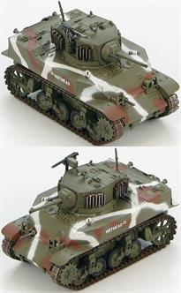 "Hobby Master US M5A1 Stuart ""HOTHEAD"" 4th Tank Bttn., Roi-Namur, Kwajalein Atoll 1944<p>1/72 Scale</p><p>With the German victories in Europe using mobile firepower the development of light tanks became a priority. In early 1942 the GMC Cadillac Division developed the M5 series called the Stuart by the British. By September 1942 the improved M5A1 was developed. Originally equipped with a .30 caliber anti-aircraft machine gun most tank crews upgraded to the .50 caliber machine gun. In Europe the Stuart proved too ineffective against the larger German AFV's making it an easy target. The M5A1 proved adequate in the Pacific against Japanese armour.</p>"
