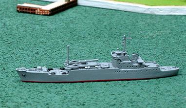 A 1/1250 scale model of General Ryabikov a Lama class transport ship, still in service with the Russian Navy. This model has a deck load of covered items....