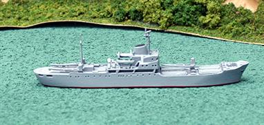 A 1/1250 scale model of a modified Andizhan class navy transport several of which are still in Russian service today.