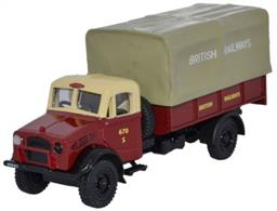 Oxford Diecast 1/76 British Rail Bedford OY 3 Ton GS 76BD005The third release on the Bedford OY 3-ton General Service lorry comes in the British Railways colour scheme of crimson and cream cab with crimson rear lower cab body and beige canvas cover. The British Railways lettering appears in contrasting colour on both sections of the sides and the British Railways totem also features in crimson above the cab windscreen. Registered HXW 613, the model has a black chassis, mudguards, wheels, grille and interior.