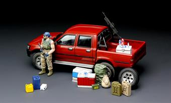 Meng VS002 1/35 Scale Dual Cab Toyota Hi-Lux Pick Up Truck With Machine Gun and Equipment.Demensions - Length 133mm Width 57mm Height 51mm.The kit includes a zpu-1 (14.5mm) heavy machine gun and two options of the barrel. A figure is also included. The kit can be made as civil or military version. Decals are provided for various options and full instructions are included.Adhesive and paints are required to complete the model (not included).