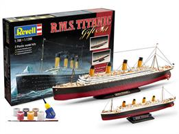 Revell RMS Titanic Twin Ship Model Set 05727Number of Parts 172 1/700 Length 385mm 1/1200 Length 223mmComes with Glue and Paints