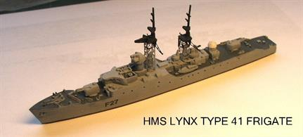 MTM041 Resin Assembly kit of  HMS Lynx Royal Navy Type 41 Leopard Class Anti Aircraft Frigate. Paint and glue reuired to complete.