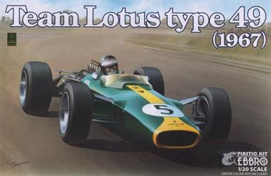 EBBRO E004 1/20 1967 Lotus 49 F1 CarA nicely detailed model of the 1967 Lotus 49 can be built. Full instructions are included.