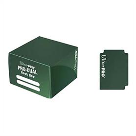Green dual deck box for holding up to 180 standard sized gaming cards in deck protectors.