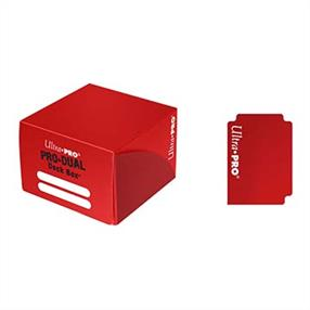 Red dual deck box for holding up to 180 standard sized gaming cards in deck protectors.
