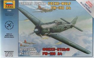 Zvezda 7304 1/72nd Focke-Wulf FW-190 A4 WW2 Fighter KitNumber of Parts 34   Length 138mm