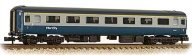 New and detailed models of the BR air conditioned express passenger stock built from the early 1970s. BR was one of the first European railways to offer air conditioned accomodation as standard on principal services.These models are of the Mk.2F coaches, the last of the Mk.2 series build (1973-1975) and almost identical to preceeding Mk.2E coaches (1972-73 build), the design changes relating primarily to the air conditioning plant. These two builds formed the backbone of the InterCity locomotive-hauled coach fleet during the 1970s and 80s.This model of the first class coach with open plan seating is painted in the BR corporate blue and grey livery.Era 7-8 1971-1994.
