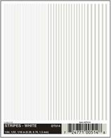 White stripe dry transfer sheet.Stripe widths 1/64in, 1/32in, 1/16in. Approximately 0.4, 0.8 and 1.6mm.One sheet: 4in x 5in (10.1 cm x 12.7 cm)