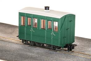 Small 4-wheel coaches were the usual choice for narrow gauge railways, being well suited to the small gauge and sharp curvature of many of these lines. The Glyn Valley Tramway purchased a number of generally similar 4 wheel coaches, with a better standard of fittings in the first class compartments.This ready to run model is of one of the fully enclosed coaches used year-round on the GVT line finished in plain green livery without lettering, ideal for free-lance narrow gauge model railwaysPeco are usually able to supply us with their models quickly, please allow 14 days for delivery.