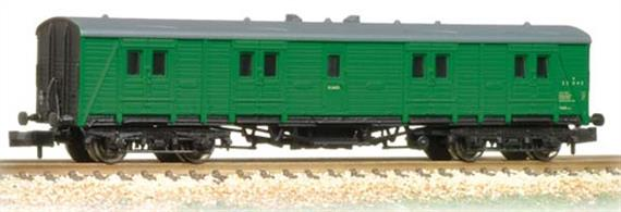 A new and detailed model of the Southern Railway Bogie B passenger luggage van.These vans were used to haul the large volumes of luggage required by international ocean liner passengers and also for mail and express parcels services. Although steadily displaced by Mk.1 standard design vans a number of these Southern vans were still in regular service in 1980.This model is painted in the lighter green livery applied by the Southern region of British Railways.Era 5 1957-1966