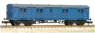A new and detailed model of the Southern Railway Bogie B passenger luggage van.These vans were used to haul the large volumes of luggage required by international ocean liner passengers and also for mail and express parcels services. Although steadily displaced by Mk.1 standard design vans a number of these Southern vans were still in regular service in 1980.This model is painted in the British Rail corporate blue livery carried from the 1970s onwards.Eras 6-7 1966-1982