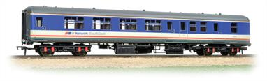 A new model of the early design of BR mak 2 coaches. These coaches featured semi-integral construction, providing a much stronger body structure than the separate underframe and body arrangeemnts used previously while delivering more usable internal space for passengers. Mk.2A was a revised design based on service experience of the initial Mk.2s and incorporating a number of new materials, including easily cleaned plastic surfaced panelling.This model is of the Mk.2A second class brake coach painted in the Network South East livery of the late 1980s & early 90s.Era 8 1995 onwards
