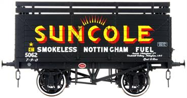 A detailed ready to run O gauge 8 plank open wagon model from Lionheart Trains tooling finished in the familiar livery of the Suncole smokeless fuels company with sunbeams logo over the side door.