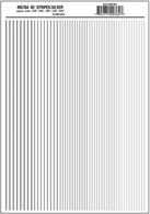 Silver stripe dry transfer sheet.Stripe widths 0.01, 1/64, 0.022, 1/32, 5/64in. Approximately 0.25, 0.39, 0.55, 0.79 and 1.2mm.One sheet: 5 5/8 x 8 1/4in (14.2 cm x 20.9 cm)